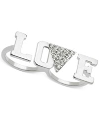Guess Silver Tone Love Two Finger Ring