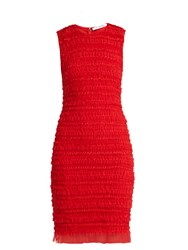 Givenchy Ruffle Trimmed Sleeveless Tulle Pencil Dress Red