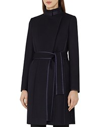 Reiss Lucille Belted Wool Coat Navy
