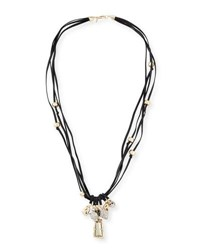 Alexis Bittar Charm Necklace On Leather Cord Yellow Silver