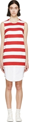 Jacquemus Red And White Striped Polo Dress
