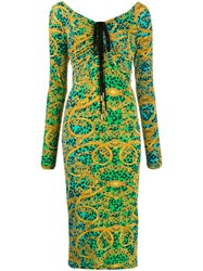 Versace Jeans Couture Leopard Baroque Print Ruched Dress 60