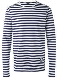 Burberry Striped Long Sleeve T Shirt Men Cotton S White