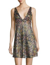 Free People Floral Lace Chemise Black Combo