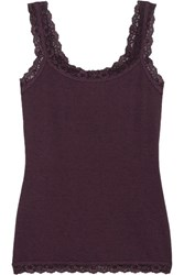 Hanky Panky Heather Lace Trimmed Stretch Jersey Camisole Grape