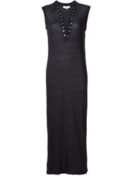 Iro Lace Up V Neck Fitted 'Daisy' Dress Black