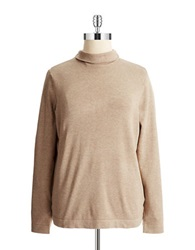 Joseph A Plus Mock Turtleneck Sweater Mocha Heather