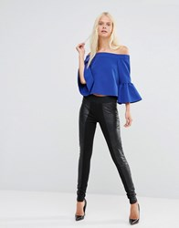 Y.A.S Comb Leather Leggings Black