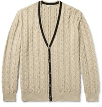 Camoshita Cable Knit Cotton Cardigan Cream