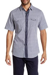 Smash Gingham Floral Short Sleeve Woven Shirt Blue