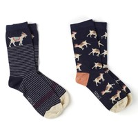 Fat Face Scatter Goat Print Ankle Socks Pack Of 2 Navy Sand