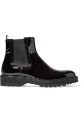 Prada Patent Leather Chelsea Boots Black
