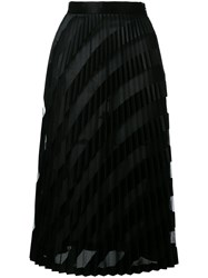 Off White Midi Pleated Skirt Black