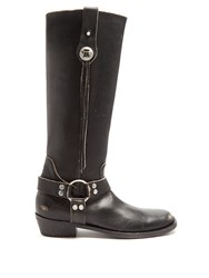 Balenciaga Santiago Distressed Leather Knee High Boots Black