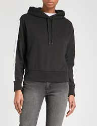 Cheap Monday Striped Sleeves Cotton Blend Hoody Black