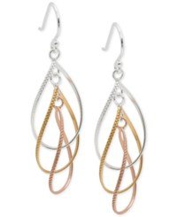 Giani Bernini Tri Tone Multi Hoop Drop Earrings In 18K Gold Plate Rose Gold Plate And Sterling Silver Only At Macy's Tri Tone