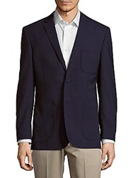 English Laundry Modern Fit Crosshatch Wool Sportcoat Blue Black
