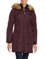 Vince Camuto Slim Fit Faux Fur Hooded Puffer Jacket Wine