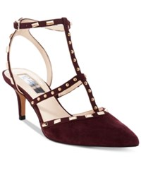 Inc International Concepts Carma Pointed Toe Studded Kitten Heel Pumps Only At Macy's Women's Shoes Dark Plum