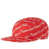 Maison Kitsune Allover Print 5 Panel Cap Red