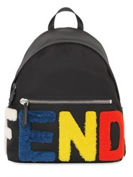 Fendi Logo Patches Nylon And Shearling Backpack