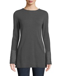 Nic Zoe Round Neck Long Sleeve Grommet Cuff Knit Top Graphite