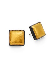 Gurhan Amulet 24K Yellow Gold And Sterling Silver Hammered Square Button Earrings Silver Gold