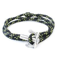 Anchor And Crew Union Rope And Silver Bracelet Solid Black