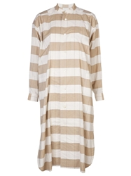 Issey Miyake Vintage Round Neck Striped Shirtdress Nude And Neutrals
