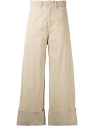 Sea Cropped Flared Trousers Women Cotton Linen Flax Spandex Elastane Viscose 4 Nude Neutrals