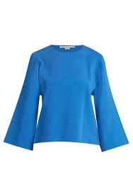 Stella Mccartney Round Neck Cut Out Sleeve Sweater Blue