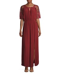 California Moonrise Embroidered Mesh Accented Maxi Dress