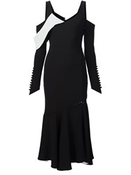 Prabal Gurung Button Detail Cold Shoulder Dress Black