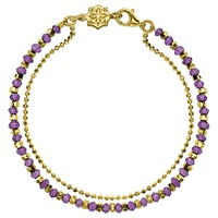 Dower And Hall 18Ct Gold Vermeil Beaded Friendship Bracelet Gold Amethyst Gold Amethyst