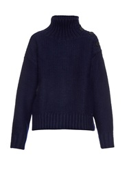 Y's By Yohji Yamamoto Button Shoulder Roll Neck Wool Sweater
