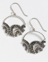 Lord And Taylor Sparkly Hoop Earrings Grey