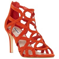 Dune Maida Loop Detail Caged High Heel Sandals Orange Suede