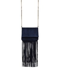 Karen Millen Micro Fringe Shoulder Bag Blue