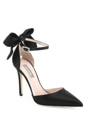 Sarah Jessica Parker Trance Satin Point Toe Bow Pumps Candy Pink Black Skyline Blue
