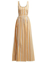 Brock Collection Oriana Striped Cotton Maxi Dress Yellow Multi