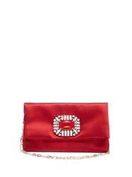 Jimmy Choo Titania Crystal Embellished Satin Clutch Red