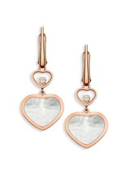 Chopard Happy Hearts Diamond And Mother Of Pearl Drop Earrings Rose Gold