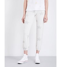 Sundry Star Print Fleece Jogging Bottoms Cream Star Print