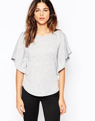 Pussycat London Top With Frill Sleeves Grey
