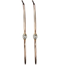 Annina Vogel 9Ct Rose Gold Old Cut Diamond Solitaire Hoop Earrings