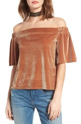 Sun And Shadow Women's Velvet Off The Shoulder Top