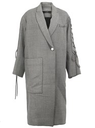 Ellery Lace Up Sleeves Oversized Coat Grey