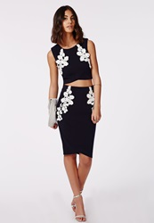 Missguided Pennelope Lace Applique Midi Skirt Navy Blue