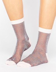 Asos Sheer Glitter Ankle Socks Lilac Purple