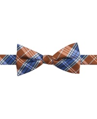 Countess Mara New Traditional Plaid Pre Tied Bow Tie Orange